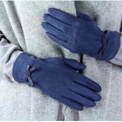 Gants femme hiver suédine polaire G10 Bleu marine
