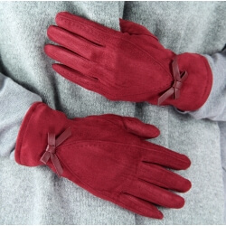 Gants femme hiver suédine polaire G10 Bordeaux