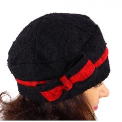 Bonnet béret femme chic hiver polaire ENNIO Noir