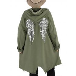 Veste sweat capuche grande taille ailes dos WINGS Kaki