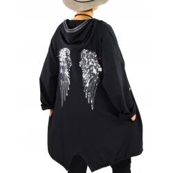 Veste sweat capuche grande taille ailes dos WINGS Noir