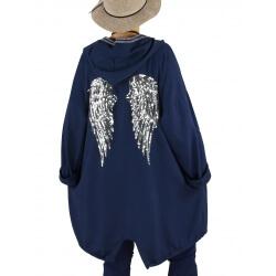 Veste sweat capuche grande taille ailes dos WINGS Bleu