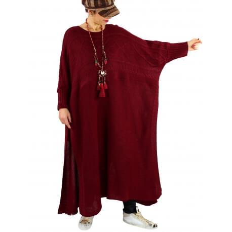 Robe pull poncho grande taille hiver LOCO Bordeaux
