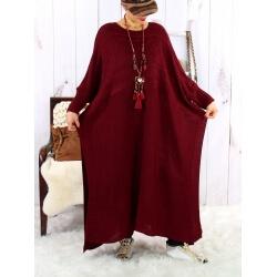 Robe pull poncho grande taille hiver bordeaux LOCO Robe grande taille