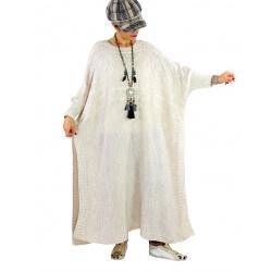 Robe pull poncho grande taille hiver LOCO Beige