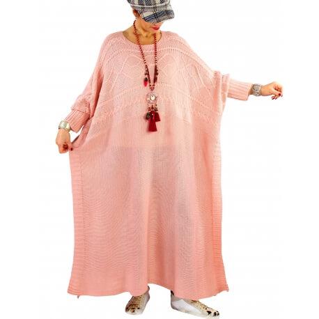Robe pull poncho grande taille hiver LOCO Rose