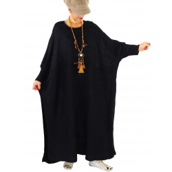 Robe pull poncho grande taille hiver LOCO Noir