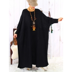Robe pull poncho grande taille hiver noir LOCO Robe grande taille