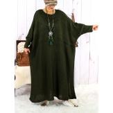 Robe pull poncho grande taille hiver kaki LOCO Robe grande taille