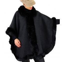 Cape grande taille hiver laine fourrure MICHELA Noir