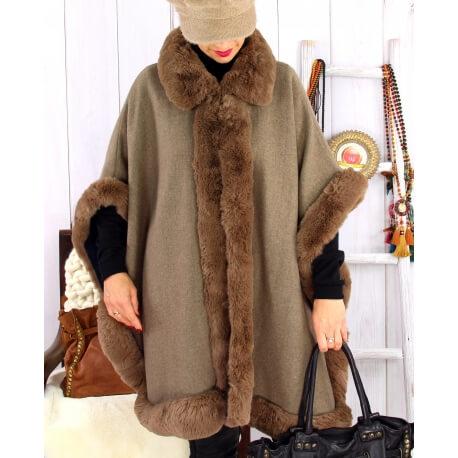 Cape grande taille hiver laine fourrure MICHELA taupe Cape femme