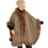 Cape grande taille hiver laine fourrure MICHELA taupe-Cape femme-CHARLESELIE94