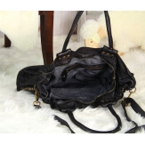 Grand sac cabas cuir vintage délavé clous VEGAS Noir