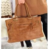 Grand sac cabas cuir vintage délavé clous VEGAS Camel