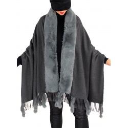 Étole châle hiver laine fausse fourrure PABLO Gris