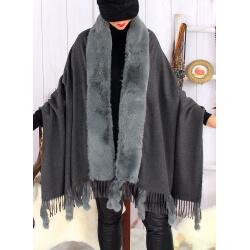 Étole châle hiver laine fausse fourrure PABLO Gris Étole fausse fourrure femme