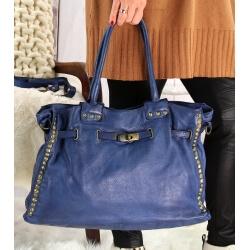 Grand sac cabas cuir vintage délavé clous VEGAS Bleu