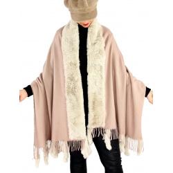 Étole châle hiver laine fausse fourrure PABLO Beige