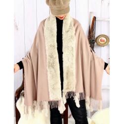 Étole châle hiver laine fausse fourrure PABLO Beige Étole fausse fourrure femme