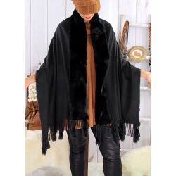 Étole châle hiver laine fausse fourrure PABLO Noir Étole fausse fourrure femme