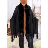 Étole châle hiver laine fausse fourrure PABLO Noir-Étole fausse fourrure femme-CHARLESELIE94