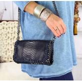 Sac à main pochette cuir chaînette DALLAS Bleu marine