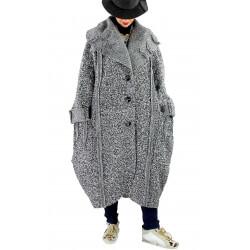 Manteau long femme grande taille laine PIALA gris