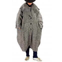 Manteau long femme grande taille laine PIALA taupe