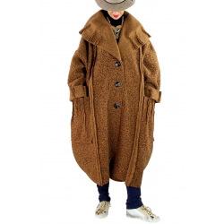 Manteau long femme grande taille laine PIALA Camel-Manteau hiver femme-CHARLESELIE94