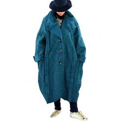Manteau long femme grande taille laine PIALA Bleu pétrole