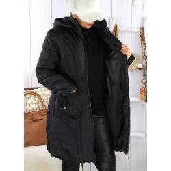 Doudoune longue capuche grande taille VANOU noire Doudoune femme