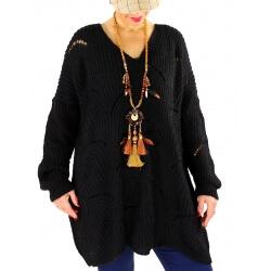 Pull long femme grande taille laine mohair ABBA Noir