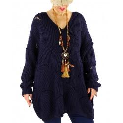 Pull long femme grande taille laine mohair ABBA Bleu marine