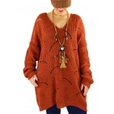 Pull long femme grande taille laine mohair ABBA Rouille