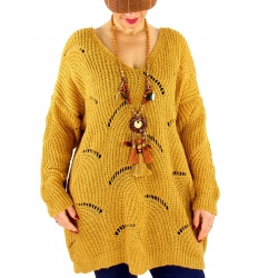 Pull long femme grande taille laine mohair ABBA Moutarde