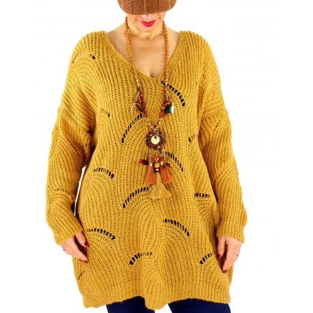 Pull long femme grande taille laine mohair ABBA Moutarde-Pull femme grande taille-CHARLESELIE94