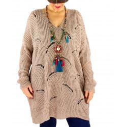 Pull long femme grande taille laine mohair ABBA Taupe-Pull femme grande taille-CHARLESELIE94