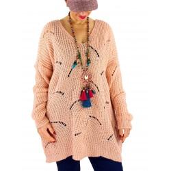 Pull long femme grande taille laine mohair ABBA Rose
