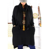 Robe pull + écharpe grande taille YANNICK Noir