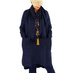 Robe pull + écharpe grande taille YANNICK Bleu
