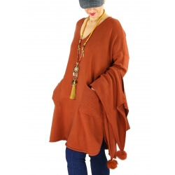 Robe pull + écharpe grande taille YANNICK Rouille