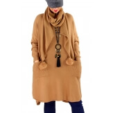 Robe pull + écharpe grande taille YANNICK Camel