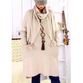 Robe pull + écharpe grande taille YANNICK Beige