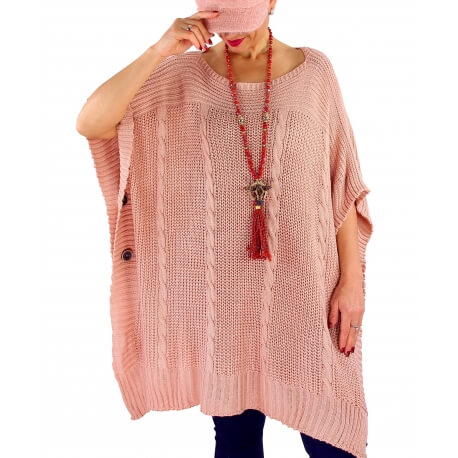 Poncho pull femme grande taille laine SUCCES Rose
