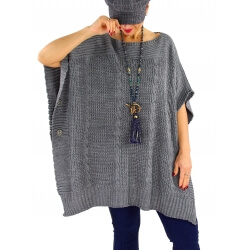 Poncho pull femme grande taille laine SUCCES Gris
