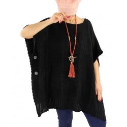 Poncho pull femme grande taille laine SUCCES Noir