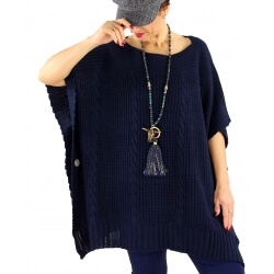 Poncho pull femme grande taille laine SUCCES Bleu marine