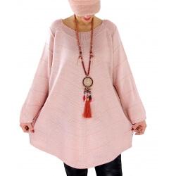 Pull tunique femme grande taille trapèze DONNA Rose