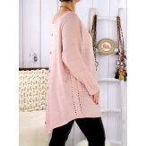 Pull tunique femme grande taille trapèze rose DONNA Pull femme