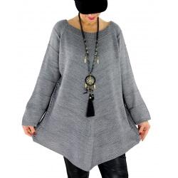 Pull tunique femme grande taille trapèze DONNA Gris